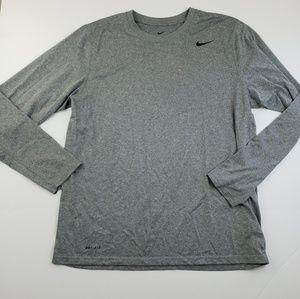 Nike Shirts - Nike Mens Heathered Gray Long Sleeve Logo Top Larg